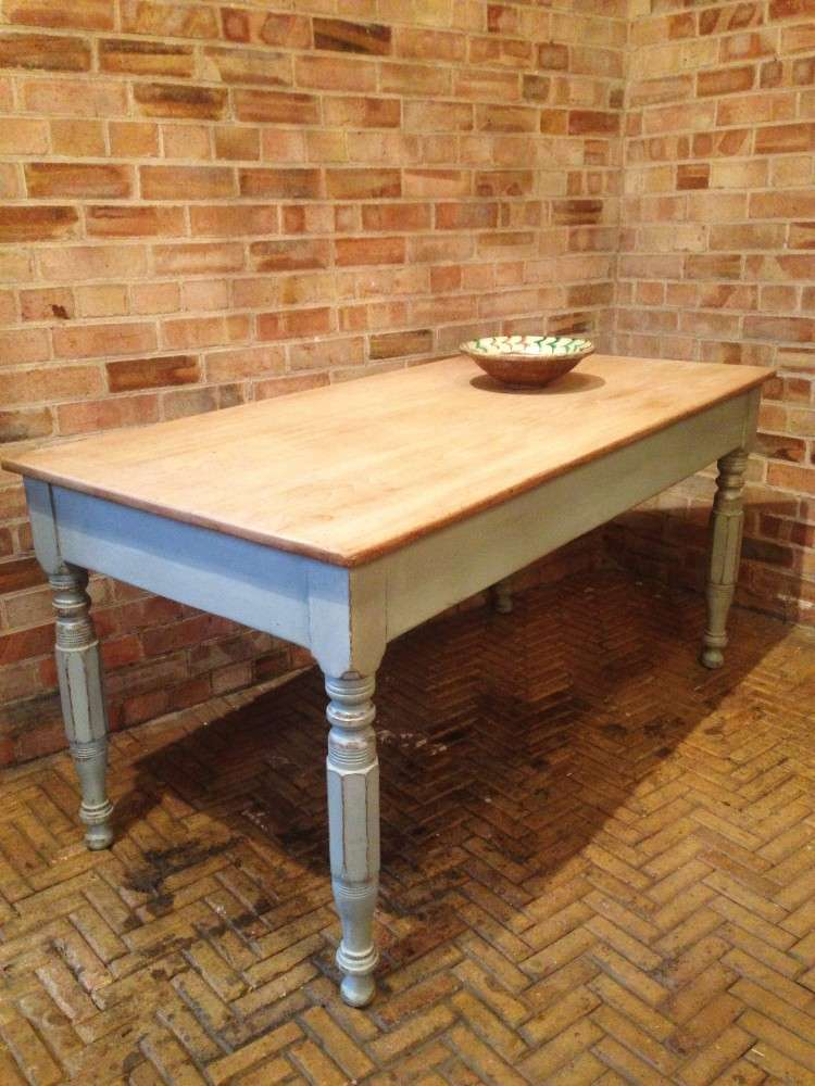 Early Victorian Painted Ash Kitchen Table1
