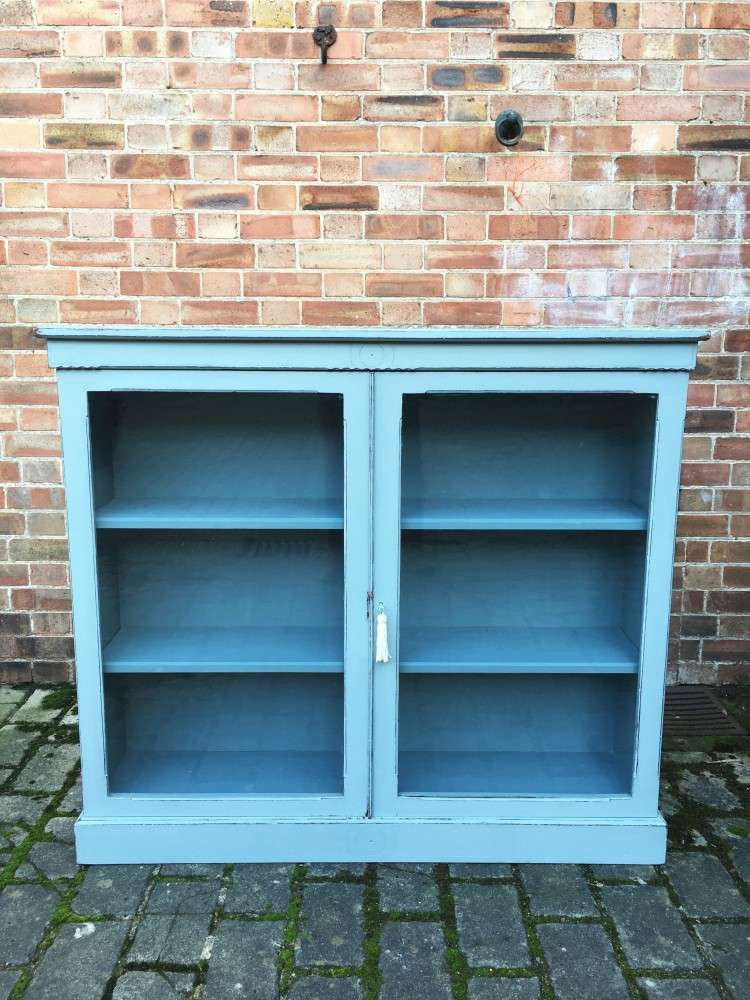 Late Victorian Painted Walnut Glazed Bookcase