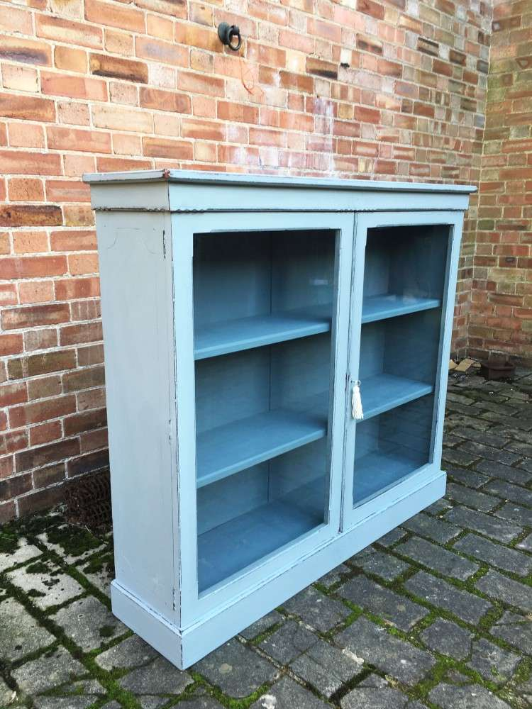 Late Victorian Painted Walnut Glazed Bookcase1