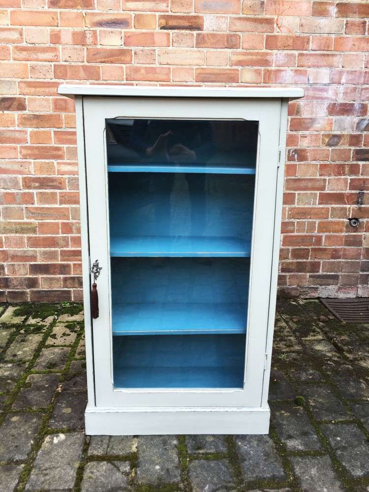 Late Victorian Painted Walnut Glazed Cupboard