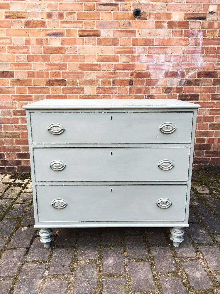 Early Victorian Painted Mahogany 3 Drawer Chest