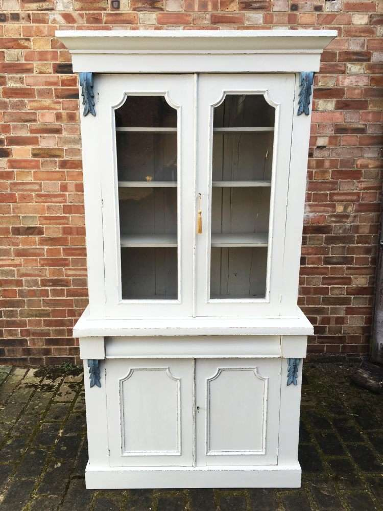 Mid Victorian Painted Mahogany Cupboard Bookcase