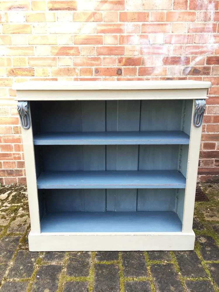 Mid Victorian Painted Walnut Open Bookcase