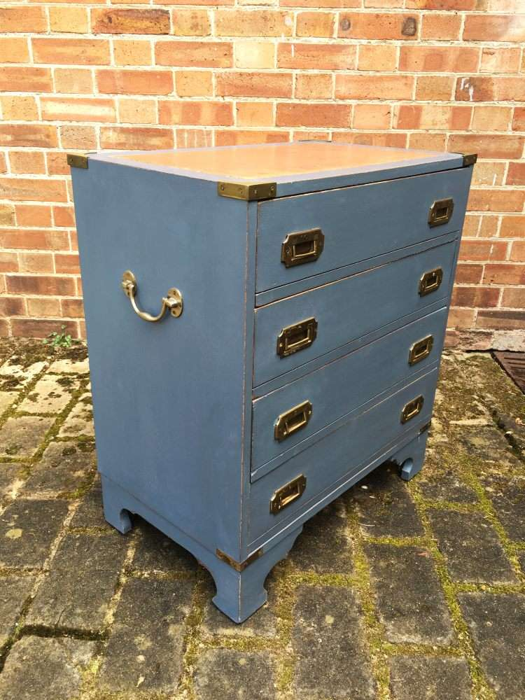Military Style Painted Small Chest Of Drawers1