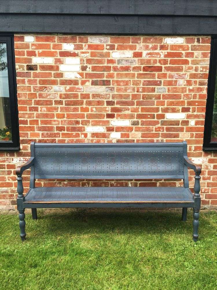Edwardian Painted Birch Pub Bench