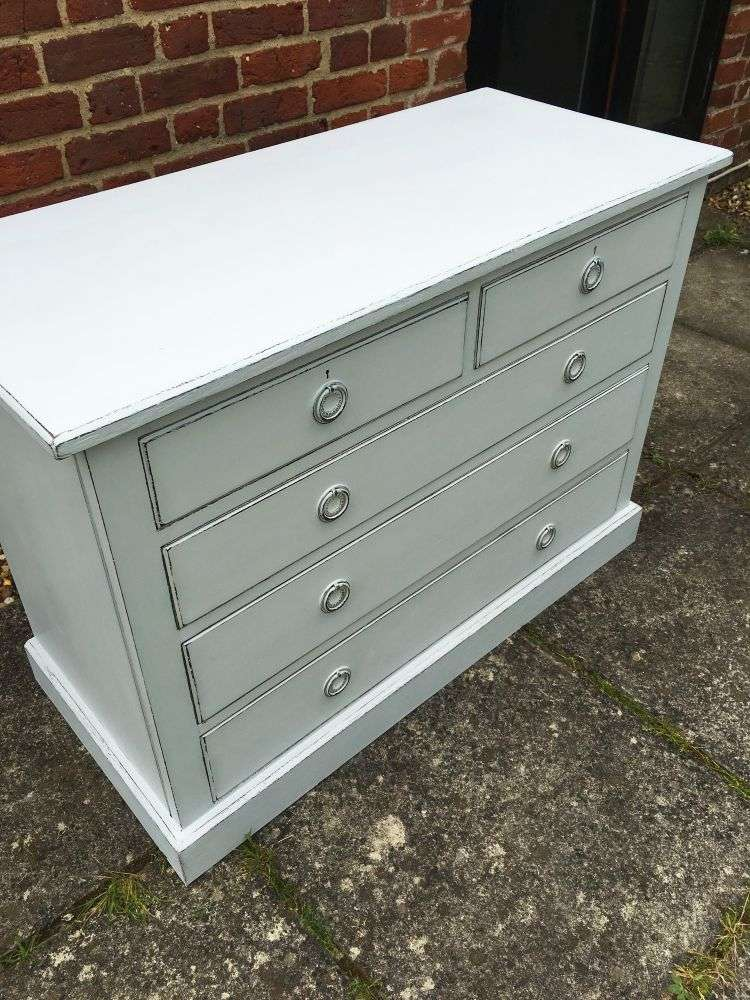 Edwardian Painted Mahogany Chest Of Drawers3