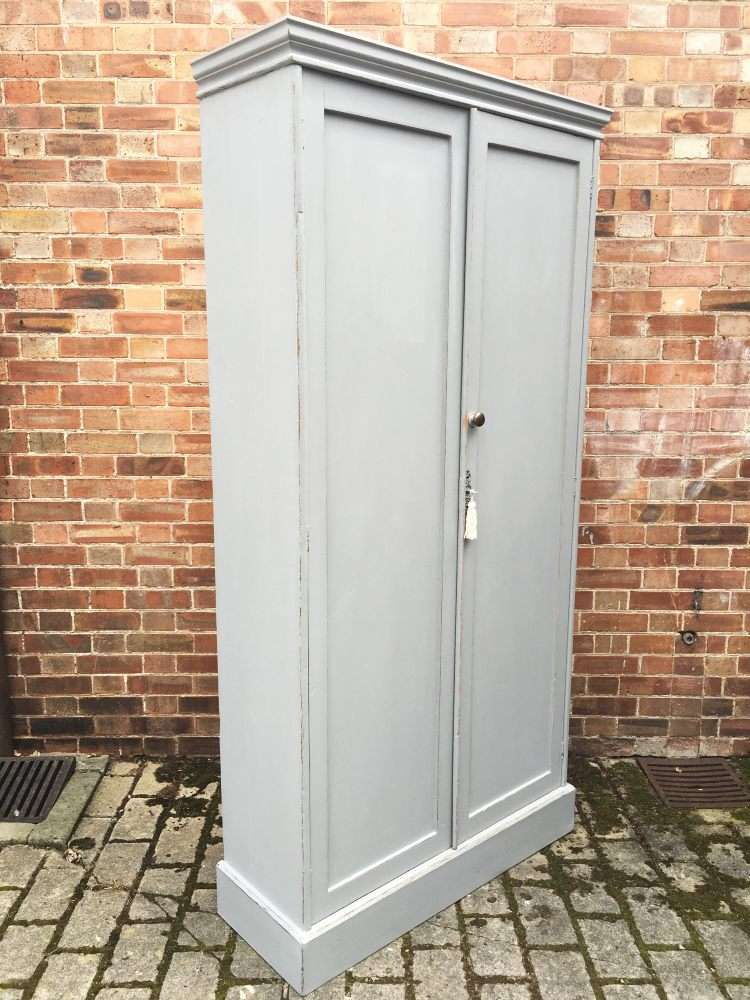 Victorian Painted Pine Larder or Linen Cupboard1