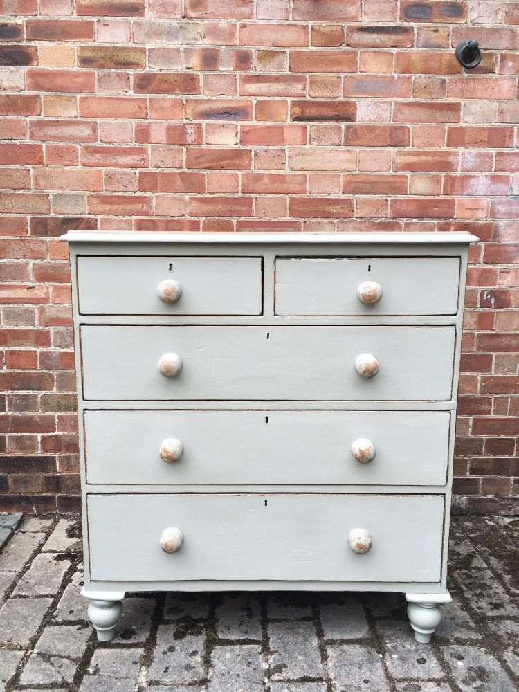 Mid Victorian Painted Pine Cottage Chest