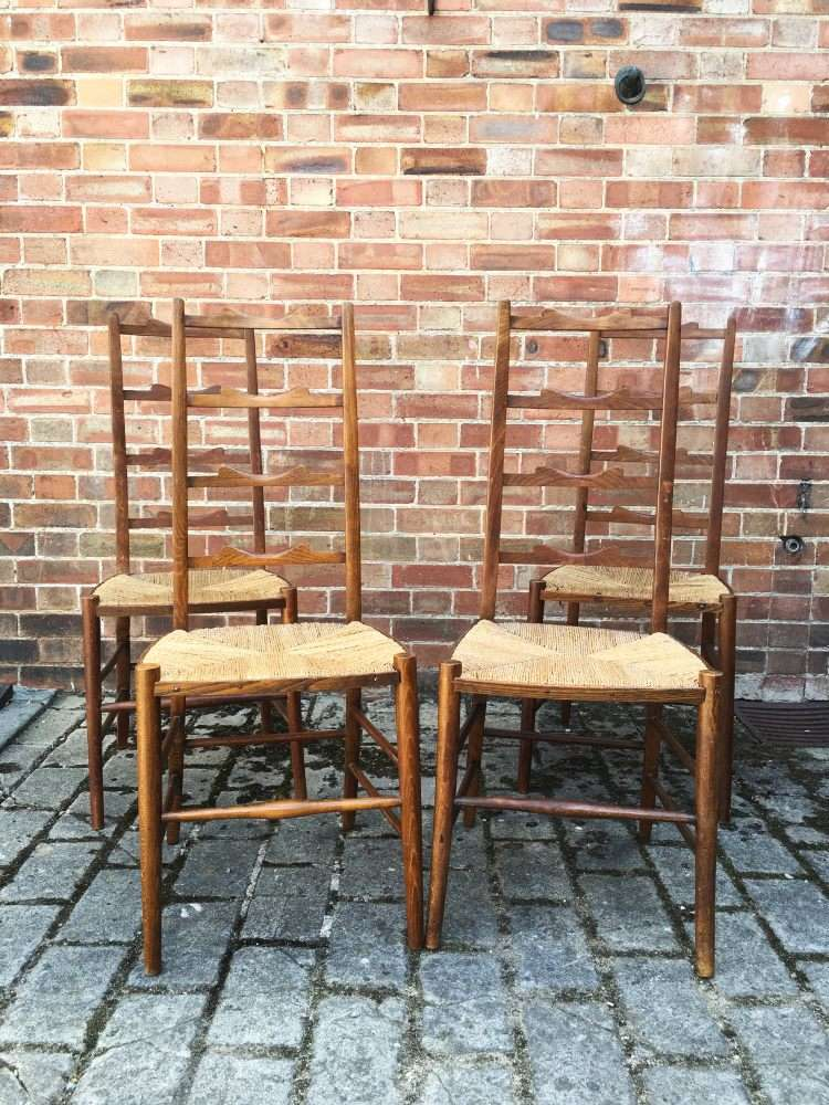 Set Of 4 Edwardian Beech Ladder Back Chairs