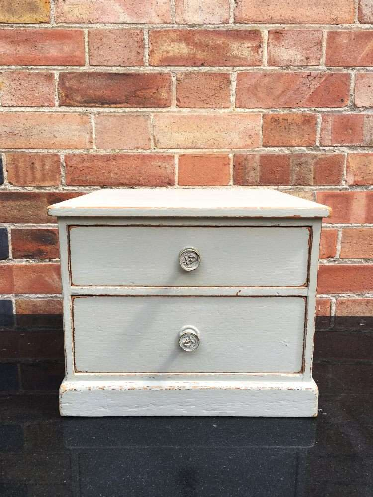 Edwardian Painted Pine 2 Drawer Table Cabinet