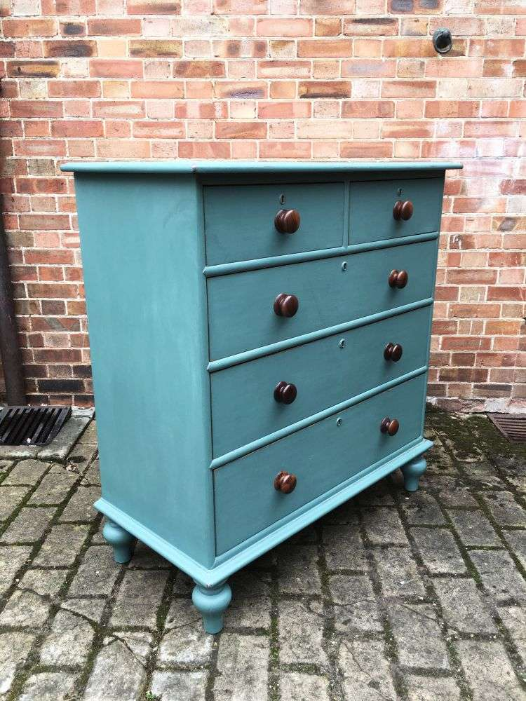 Victorian Painted Pitch Pine North Country Chest1