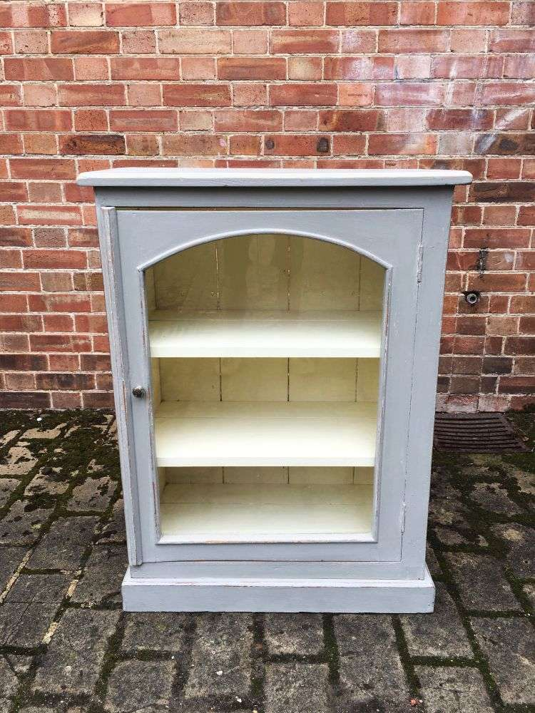 1930's Painted Pine Small Glazed Cabinet