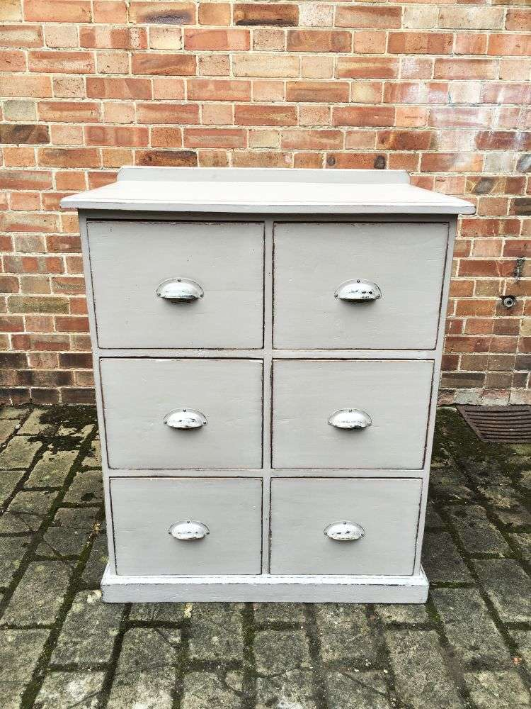 Edwardian Painted Pine 6 Drawer Kitchen Base