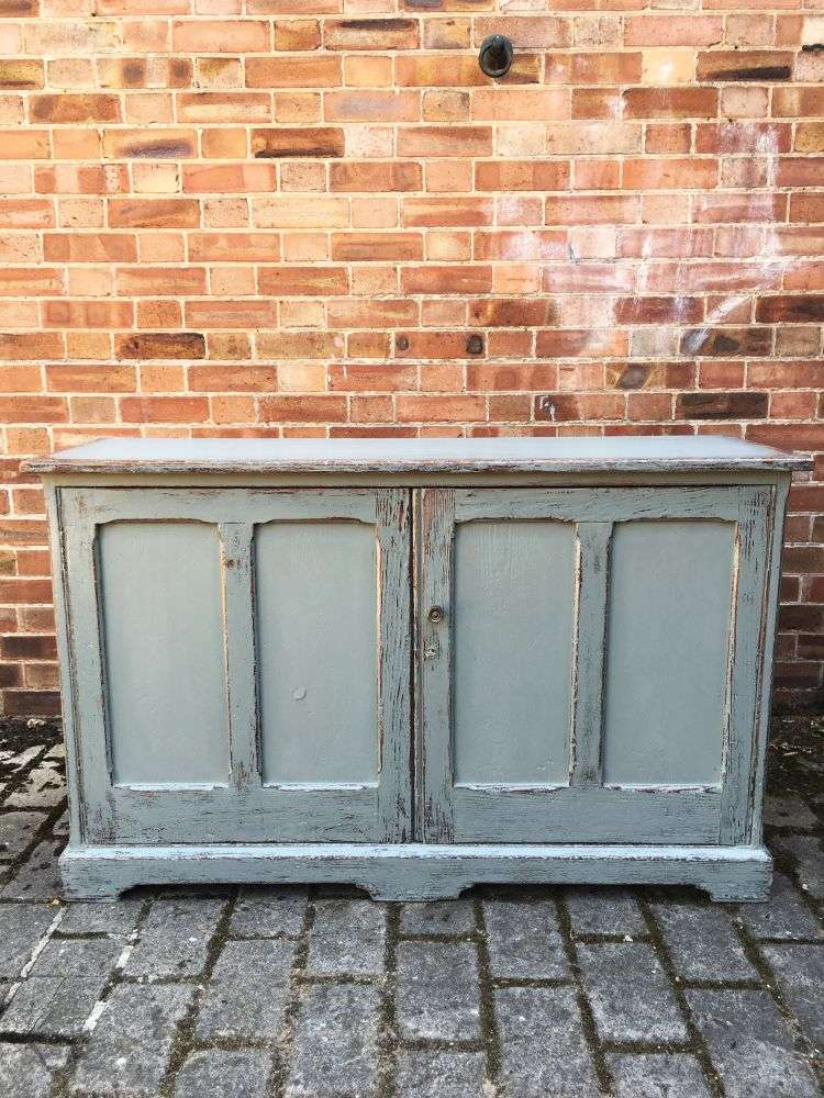 Mid Victorian Painted Pine School Cupboard