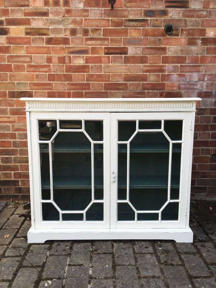 Edwardian Painted Mahogany Glazed Bookcase3