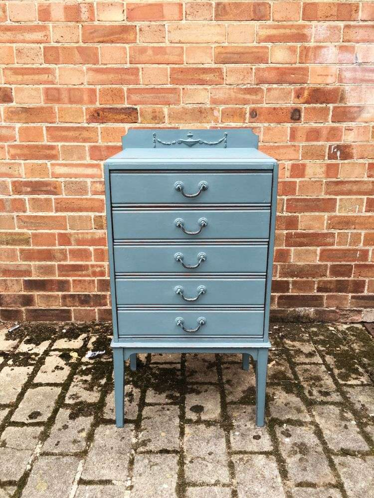 Edwardian Painted 5 Drawer Chest2