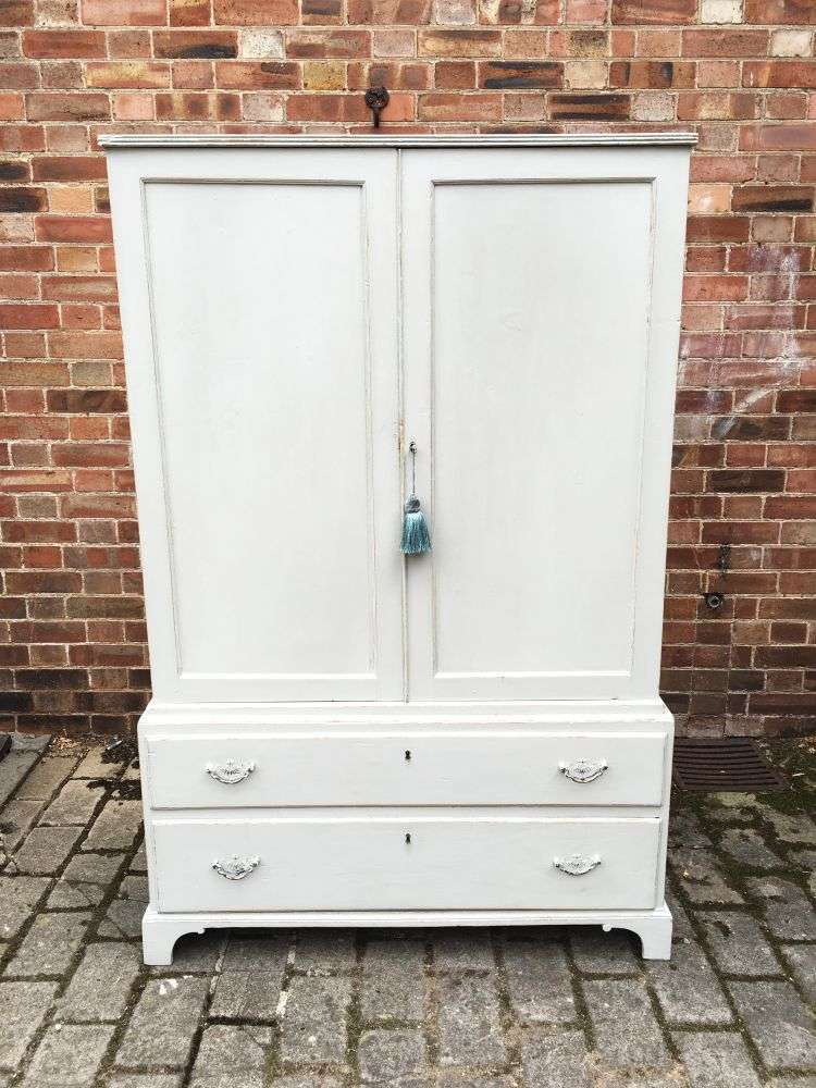Regency Painted Pine 2 Part Cupboard Chest Press4