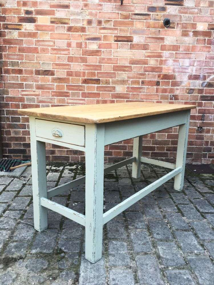 Late Victorian Painted Pine Farmhouse Kitchen Table