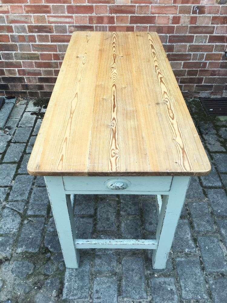 Late Victorian Painted Pine Farmhouse Kitchen Table3