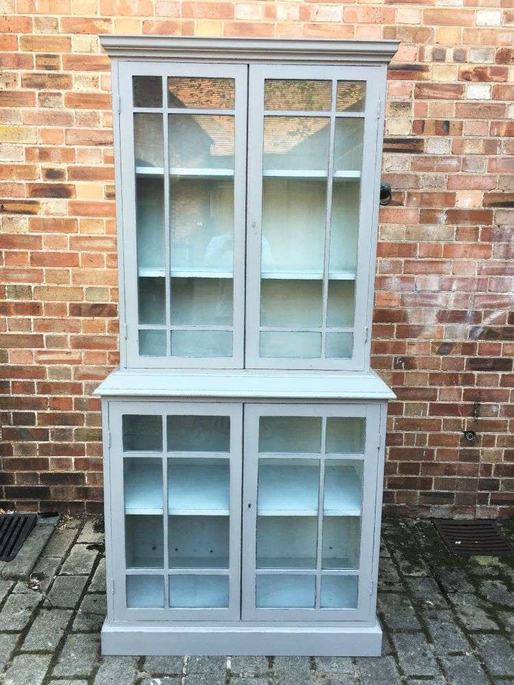 Edwardian Painted Oak 4 Door Glazed Kitchen Cabinet