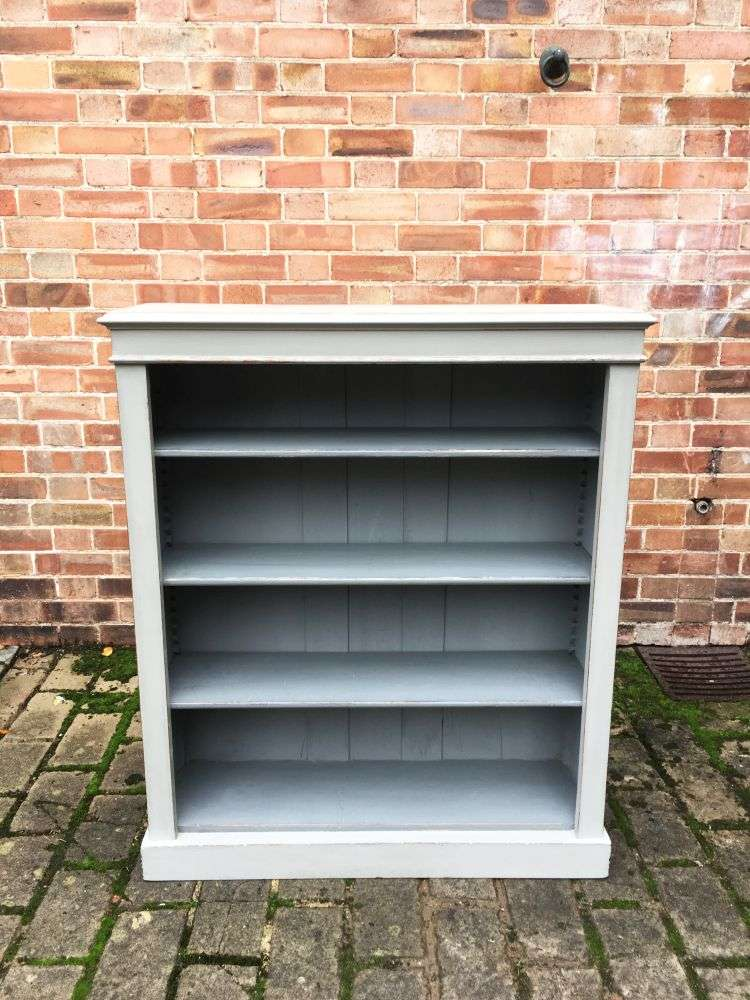 Late Victorian Painted Oak Open Bookcase3