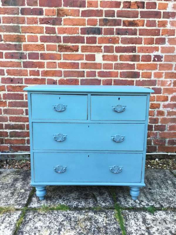 Late Victorian Painted Pine Chest Of Drawers3