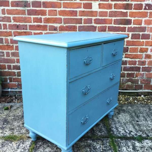 Late Victorian Painted Pine Chest Of Drawers2