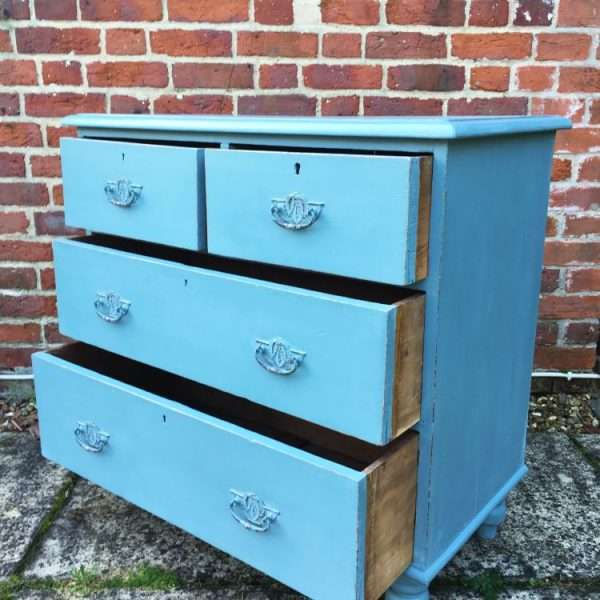 Late Victorian Painted Pine Chest Of Drawers1