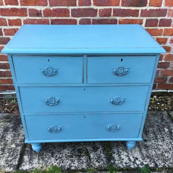 Late Victorian Painted Pine Chest Of Drawers