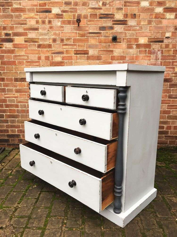 Early Victorian Painted Mahogany Gentleman's Chest3