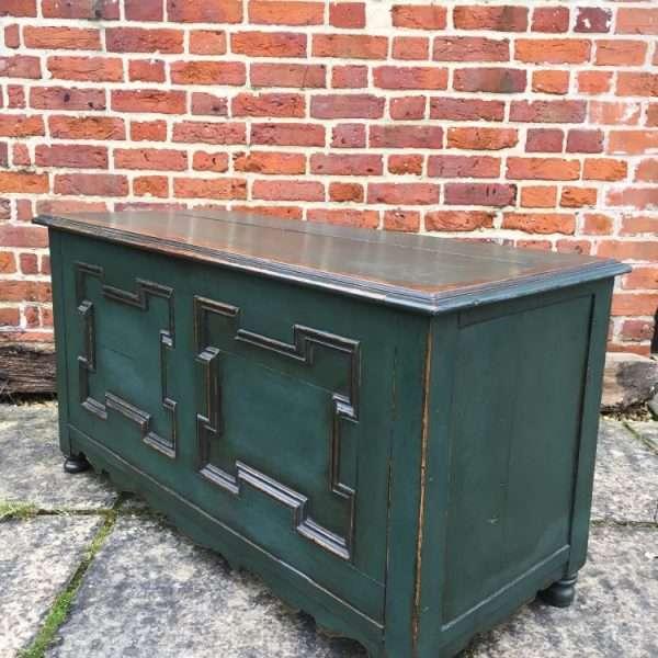 Edwardian Painted Oak Coffer Chest5