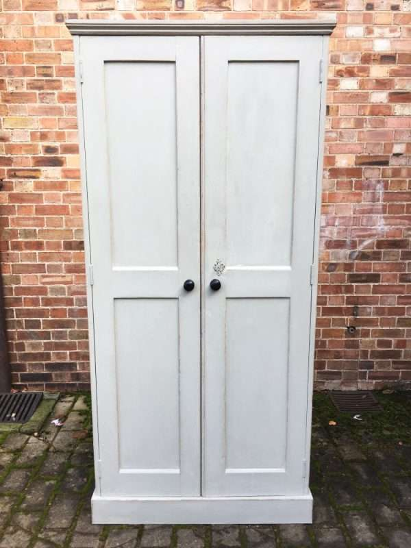Mid Victorian Painted Pine Linen Cupboard