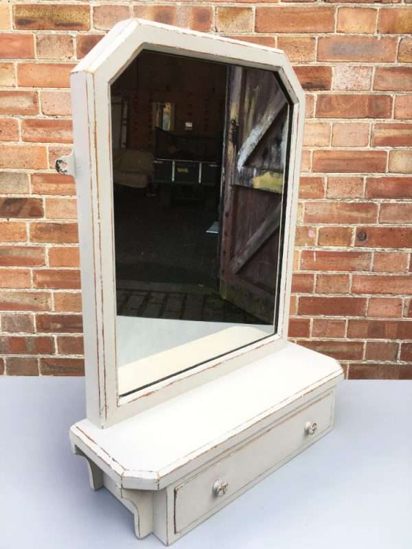 Edwardian Painted Oak Toilet Mirror1