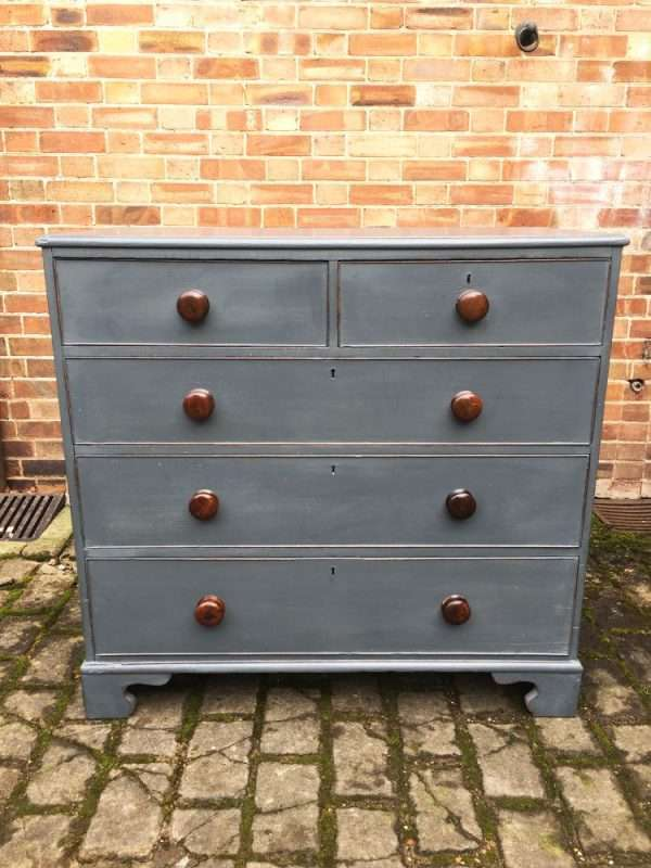 Early Victorian Painted Oak Chest Of Drawers3