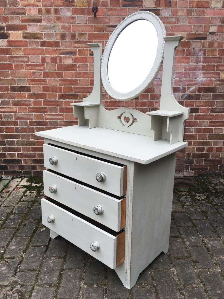 Arts & Crafts Painted Oak Dressing Chest2