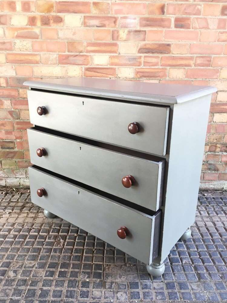 Mid Victorian Painted Mahogany 3 Drawer Chest1