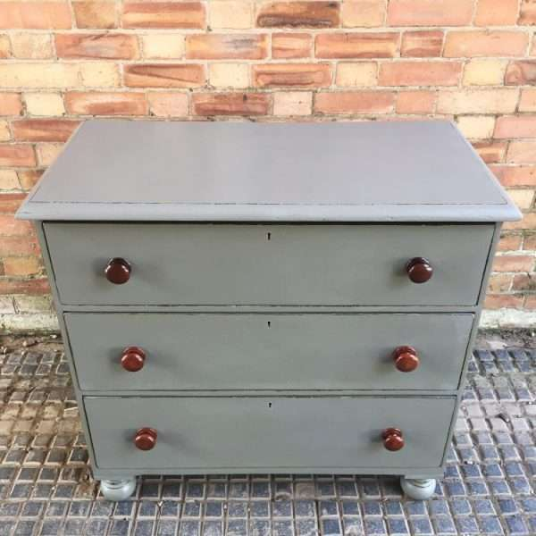 Mid Victorian Painted Mahogany 3 Drawer Chest