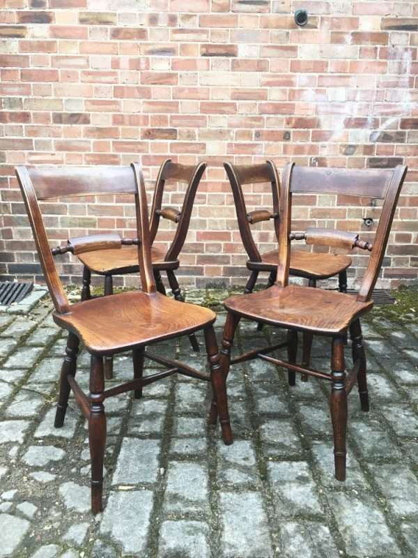 Set Of 4 Mid Victorian Elm Essex Chairs5