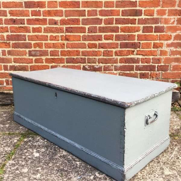 Mid Victorian Painted Pine Blanket Box1