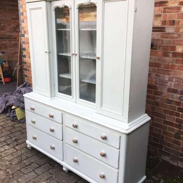 Mid Victorian Painted Pine Dresser3