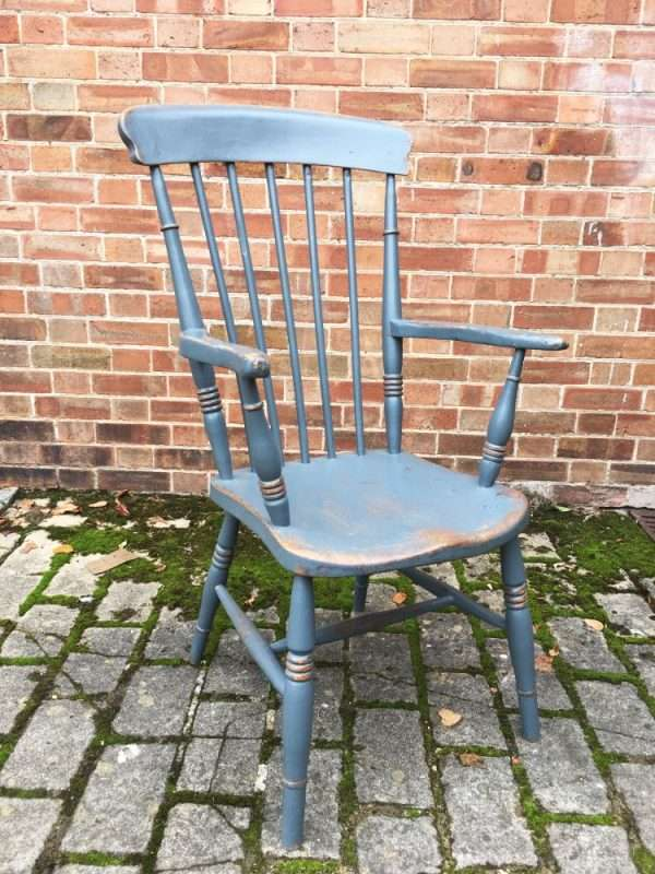 Late 19th Century Painted Elm Grandfathers Chair3