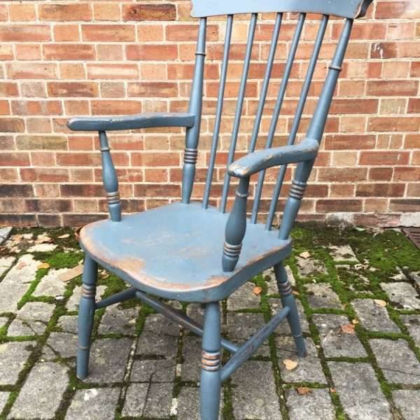 Late 19th Century Painted Elm Grandfathers Chair2