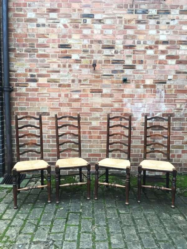 Edwardian Beech Ladder Back Chairs3