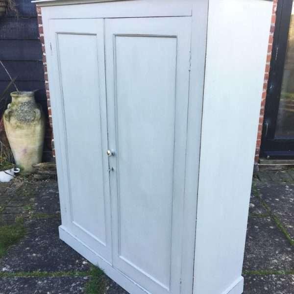 Late Victorian Painted Mahogany 2 Door Linen Cupboard1