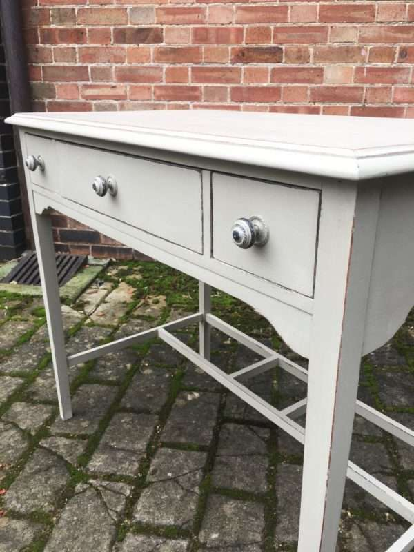 Edwardian Painted Mahogany 3 Drawer Table (1)
