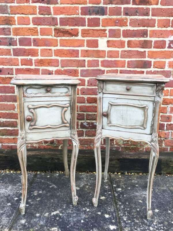 Late 19th Century French Painted Walnut Bedside Cupboards3