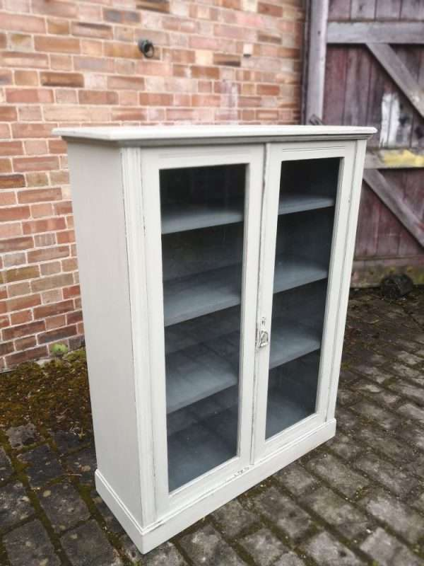 Edwardian Painted Mahogany Glazed Bookcase1