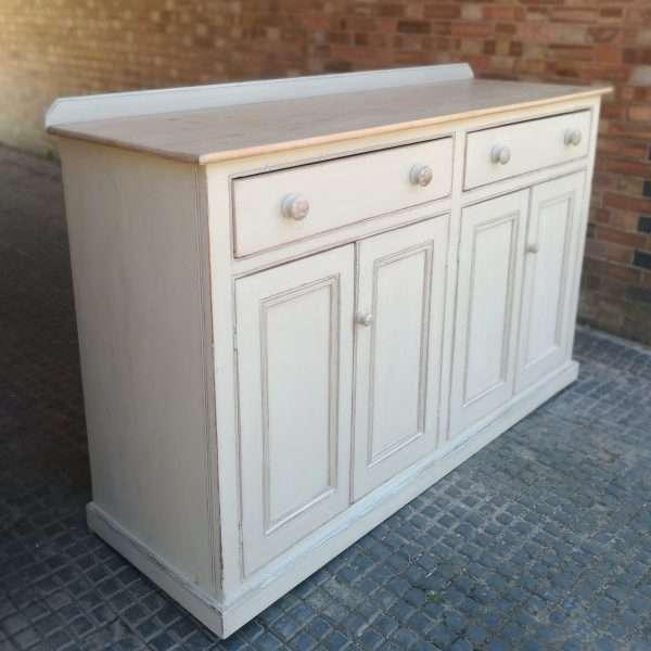 Victorian Painted Pine Kitchen Dresser Base1
