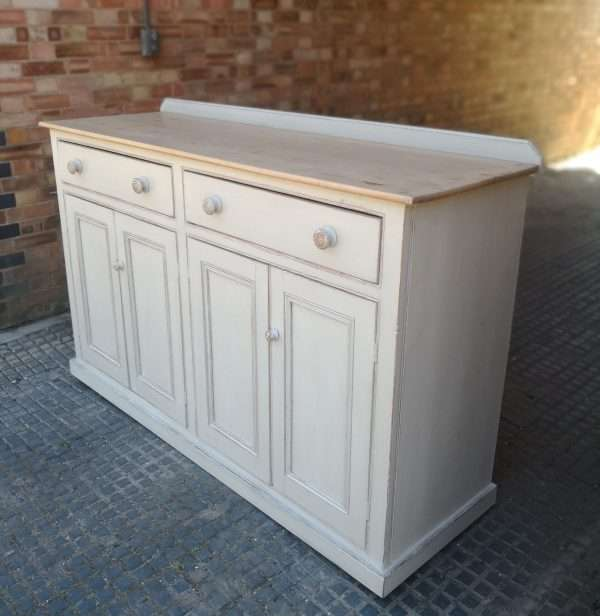 Victorian Painted Pine Kitchen Dresser Base2
