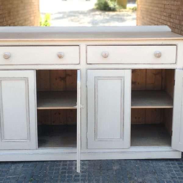 Victorian Painted Pine Kitchen Dresser Base3